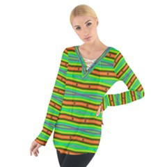 Bright Green Orange Lines Stripes Women s Tie Up Tee