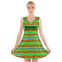 Bright Green Orange Lines Stripes V-Neck Sleeveless Skater Dress