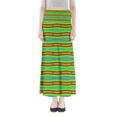 Bright Green Orange Lines Stripes Maxi Skirts