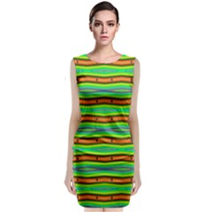Bright Green Orange Lines Stripes Classic Sleeveless Midi Dress