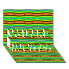 Bright Green Orange Lines Stripes You Are Invited 3d Greeting Card (7x5)
