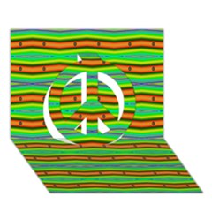 Bright Green Orange Lines Stripes Peace Sign 3D Greeting Card (7x5)