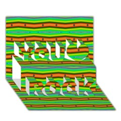 Bright Green Orange Lines Stripes You Rock 3D Greeting Card (7x5)
