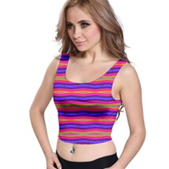 Bright Pink Purple Lines Stripes Crop Top