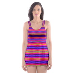 Bright Pink Purple Lines Stripes Skater Dress Swimsuit