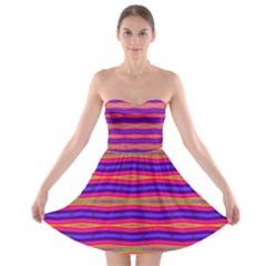Bright Pink Purple Lines Stripes Strapless Dresses