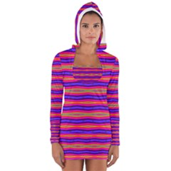 Bright Pink Purple Lines Stripes Women s Long Sleeve Hooded T-shirt