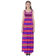 Bright Pink Purple Lines Stripes Empire Waist Maxi Dress