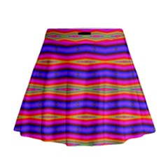 Bright Pink Purple Lines Stripes Mini Flare Skirt