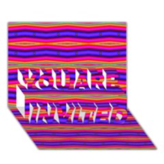 Bright Pink Purple Lines Stripes YOU ARE INVITED 3D Greeting Card (7x5)
