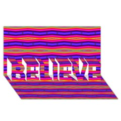 Bright Pink Purple Lines Stripes BELIEVE 3D Greeting Card (8x4)