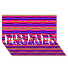 Bright Pink Purple Lines Stripes Engaged 3d Greeting Card (8x4)