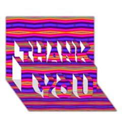 Bright Pink Purple Lines Stripes THANK YOU 3D Greeting Card (7x5)