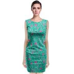 Teal and Pink Leafy Classic Sleeveless Midi Dress