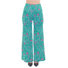 Pink And Teal Leafy Women s Chic Palazzo Pants