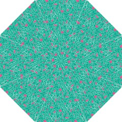Pink and Teal Leafy Folding Umbrella