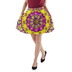 Celebrating Summer In Soul And Mind Mandala Style A-Line Pocket Skirt