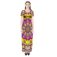 Celebrating Summer In Soul And Mind Mandala Style Short Sleeve Maxi Dress