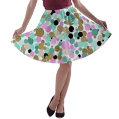 Colorful Dotted Abstract A-line Skater Skirt
