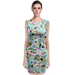 Colorful Dotted Abstract Classic Sleeveless Midi Dress