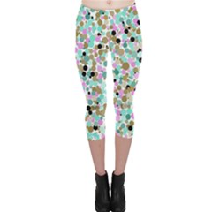 Colorful Dotted Abstract Capri Leggings