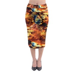 Natural Sunset Happy Mother Earth Midi Pencil Skirt