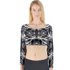 Mathematical Long Sleeve Crop Top