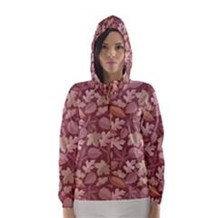Marsala Leaves Pattern Hooded Wind Breaker (Women)