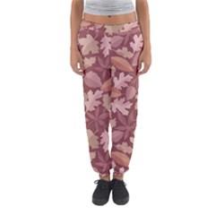 Marsala Leaves Pattern Women s Jogger Sweatpants