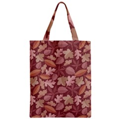 Marsala Leaves Pattern Zipper Classic Tote Bag