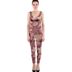 Marsala Leaves Pattern OnePiece Catsuit