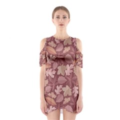 Marsala Leaves Pattern Cutout Shoulder Dress