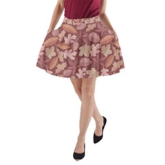 Marsala Leaves Pattern A-Line Pocket Skirt