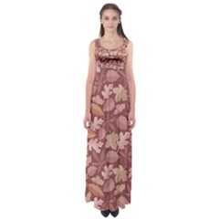 Marsala Leaves Pattern Empire Waist Maxi Dress