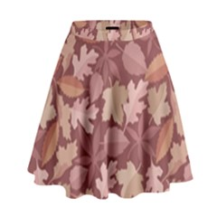 Marsala Leaves Pattern High Waist Skirt