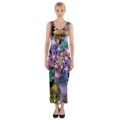 Bright Taffy Spiral Fitted Maxi Dress
