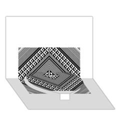 Geometric Pattern Vector Illustration Myxk9m   Heart Bottom 3D Greeting Card (7x5)