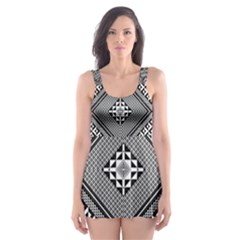 Geometric Pattern Vector Illustration Myxk9m   Skater Dress Swimsuit