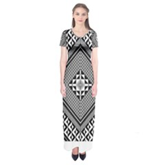 Geometric Pattern Vector Illustration Myxk9m   Short Sleeve Maxi Dress