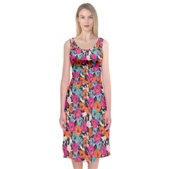 Sketchy Floral Midi Sleeveless Dress