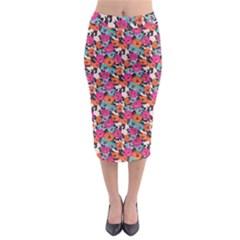 Sketchy Floral Midi Pencil Skirt