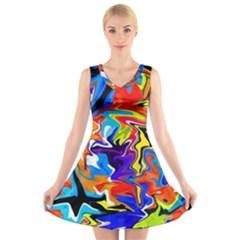 Ar000803 (3)11111 V-Neck Sleeveless Skater Dress