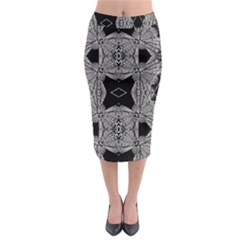 Back  Black Two Midi Pencil Skirt