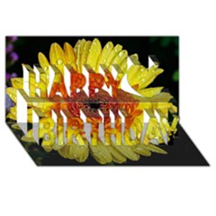 Yellow Flower Close Up Happy Birthday 3d Greeting Card (8x4)