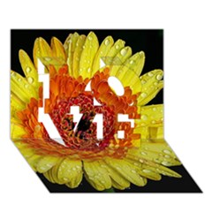 Yellow Flower Close up LOVE 3D Greeting Card (7x5)
