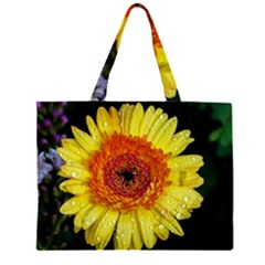 Yellow Flower Close up Zipper Large Tote Bag