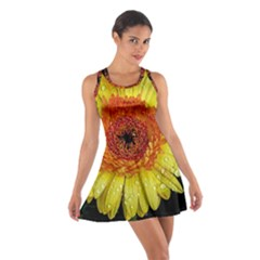 Yellow Flower Close Up Racerback Dresses