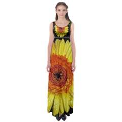 Yellow Flower Close Up Empire Waist Maxi Dress