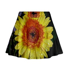 Yellow Flower Close up Mini Flare Skirt
