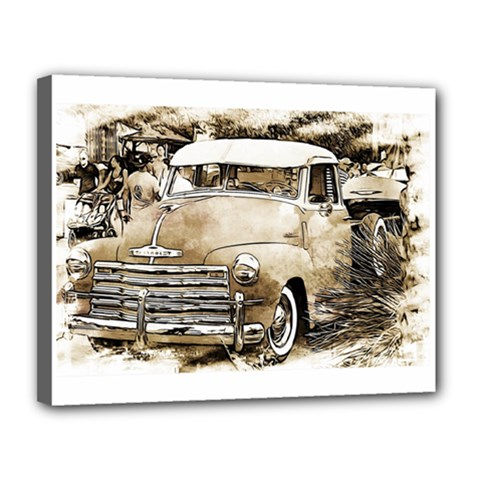 Vintage Chevrolet Pick up Truck Canvas 14  x 11